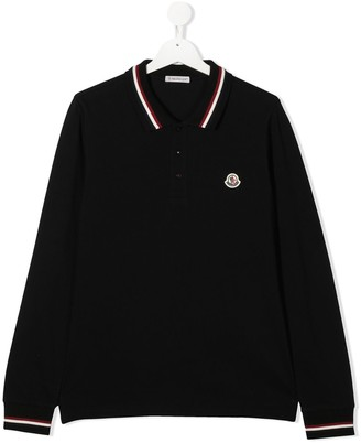Moncler Enfant TEEN logo-patch long-sleeve polo shirt