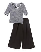 Beautees Black V-Neck Top & Culotte Pants - Girls