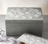 Pottery Barn Sabine Embroidered Large Jewelry Box