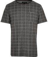 River Island MensDark grey check t-shirt