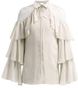Giambattista Valli Ruffled Lace-insert Silk Blouse - Womens - Ivory