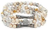 Nanette Lepore Three Faux Pearl Elasticized Bracelets