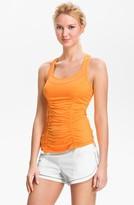 Zella 'She Girl' Ruched Racerback Tank Orange Pop X-Large