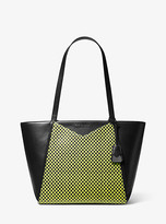Michael Kors Whitney Large Checkerboard Logo Leather Tote Bag