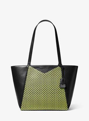 MICHAEL Michael Kors MK Whitney Large Checkerboard Logo Leather Tote Bag - Black/neon Yellow - Michael Kors