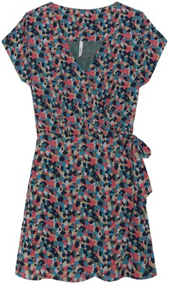 Pepe Jeans Fiona Printed Wrapover Dress with Tie-Waist