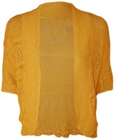 FashionMark Plus Size Women's Crochet Knitted Shrug Cardigan (Teal)