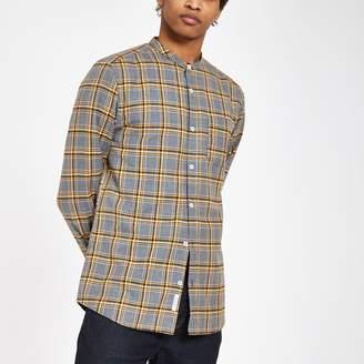 River Island Mens Grey check grandad collar shirt
