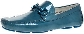 Salvatore Ferragamo Teal Patent Leather Gancio Driver Loafers Size 44.5