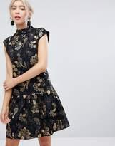 Vila Floral Sleeveless Peplum Hem Dress