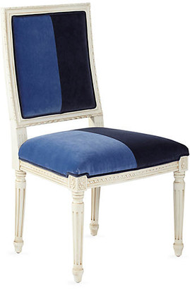 One Kings Lane Exeter Side Chair - Cobalt/Navy Velvet