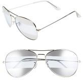 BP Women's 60Mm Tri-Tone Metal Aviator Sunglasses - Silver/ Blue/ Silver