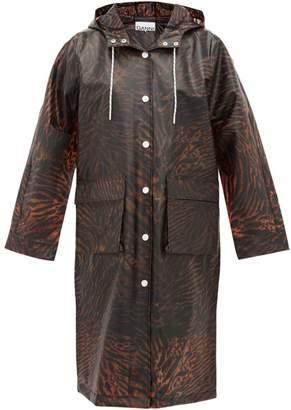 Ganni Tiger-print Biodegradable Rain Coat - Womens - Brown