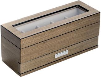 Bey-Berk Silver Walnut Wood 5-Watch Box