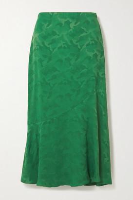 Cefinn Salone Satin-jacquard Midi Skirt - Emerald