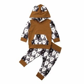 Hailouhai Toddler Infant Baby Girls Easter Cartoon Printed Long Sleeve Hoodies+ Long Leggings Pants Clothes Set (0-3 Months