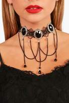 boohoo Chelsea Gothic Lace Stone Bead Drop Choker