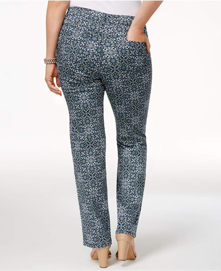 Charter Club Plus Size Printed Lexington Straight-Leg Jeans, Created for Macy's