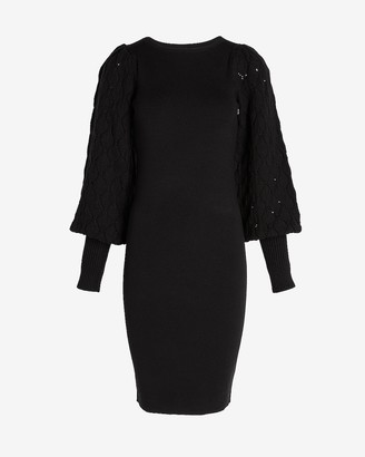 Express Open Stitch Balloon Sleeve Sweater Dress