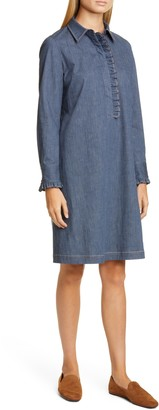 Lafayette 148 New York Fiona Long Sleeve Chambray Shirtdress