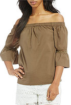 Trina Turk Castro Off-the-Shoulder 3/4 Bell Sleeve Blouse