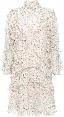 Rebecca Taylor Tiered Ruffle-trimmed Silk-blend Devore-velvet Mini Dress