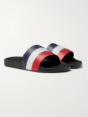 Moncler Logo-Embossed Striped Rubber Slides