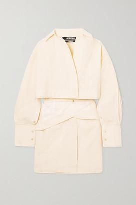 Jacquemus Terraio Buckled Cutout Cotton-blend Mini Shirt Dress - Off-white