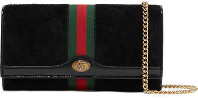 Gucci Ophidia Micro Patent Leather-trimmed Suede Shoulder Bag - Black