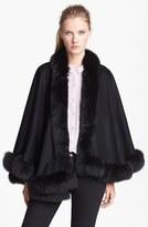Sofia Cashmere Women's Genuine Fox Fur Trim Short Cashmere Cape