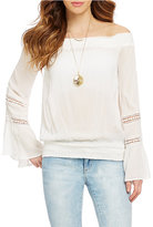 XOXO Off-the-Shoulder Lace-Inset Peasant Top