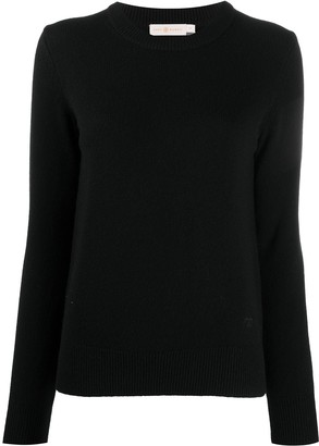 Tory Burch Fine Knit Cashmere Jumper With Sequin Elbow Patches
