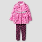 Young Hearts' Toddler Girls' Faux Fur Coat with Legging - Pink