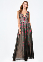 Bebe Embroidered Mesh Gown