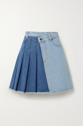 McQ Maru Pleated Two-tone Denim Wrap Mini Skirt - Light denim