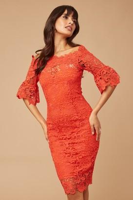 Paper Dolls Red Crochet Lace Bardot Dress