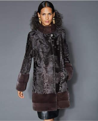 The Fur Vault Mink-Fur-Trim Persian Lamb Coat