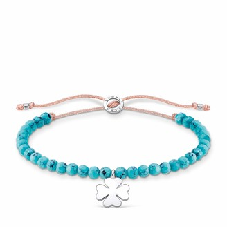 Thomas Sabo Turquoise Beads with Clover Leaf Silver 925 Sterling Silver Bracelet of Length 13-20cm