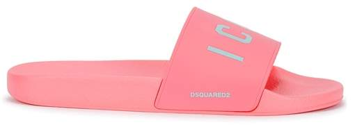 DSQUARED2 Pink Icon Rubber Sliders