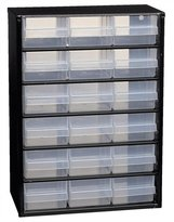 Raaco Steel Polypropylene Drawers with 18 Cabinet - Black