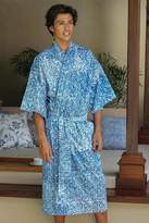 Men's Unique Cotton Robe, 'Blue Baskets'