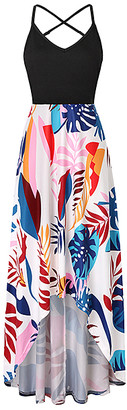 La Mode Women's Maxi Dresses Black&Multicolor - Black & Orange Leaves V-Neck Crisscross-Back Hi-Low Dress - Women & Plus