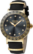 Ferré Milano Women's 38mm Stainless Steel Watch with Leather Strap, Golden/Black