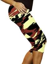 Deercon High Waist Fitness Yoga Sport Pants Woen Running Gy Stretch Capri 3/4 Leggings(Caouflage 2)