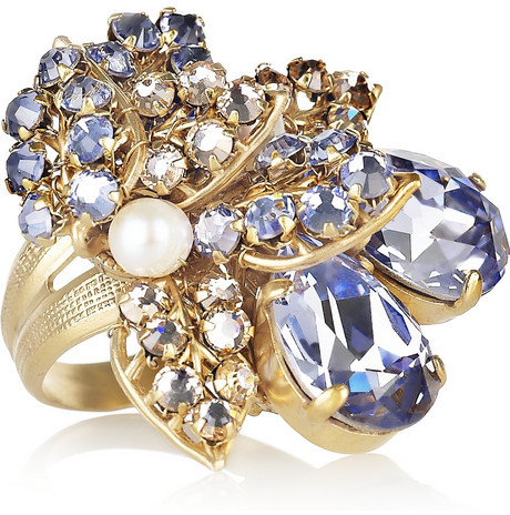 Swarovski Bijoux Heart Fifi gold-plated, crystal and pearl ring