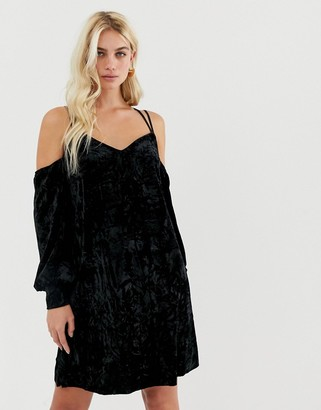 Y.A.S cold shoulder velvet mini dress in black