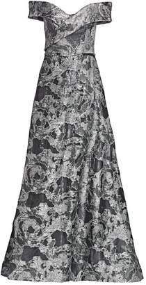 Rene Ruiz Collection Off-The-Shoulder Metallic Brocade Gown
