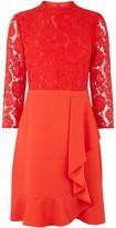 Oasis Lace top flounce shift dress