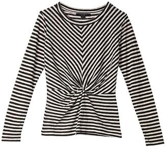 AllSaints Jess Stripe Long Sleeve Tee (Chalk/Ink Blue) Women's Clothing