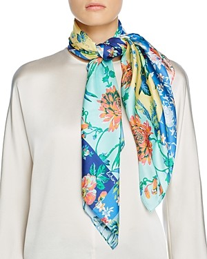 Echo Patchwork Painted Floral Square Scarf